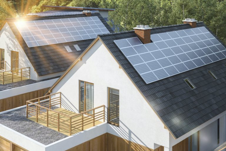 Solar PV panels on roof of houses