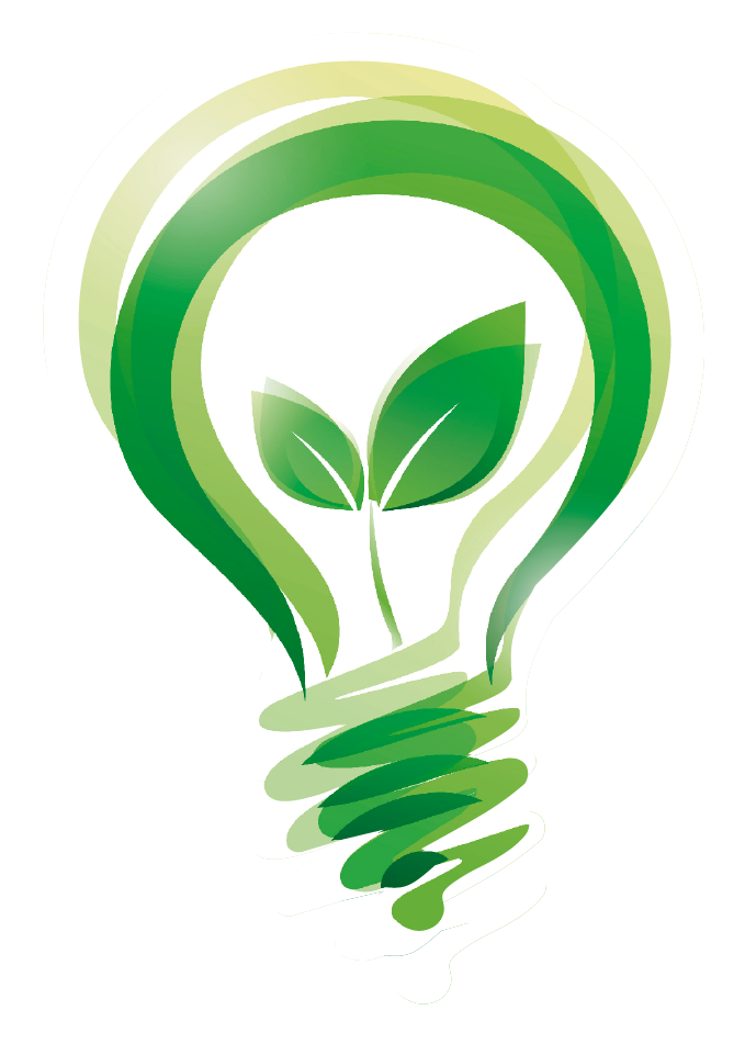 Green light bulb logo connoting green electricity